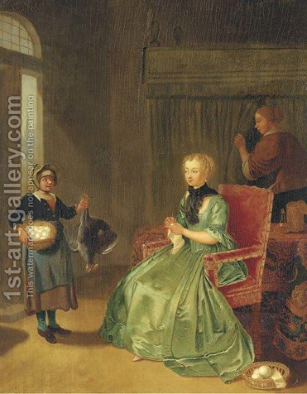 A lady seated in an interior, with a maidservant and a girl holding a chicken and basket of eggs by (after) Tibout Regters - Reproduction Oil Painting