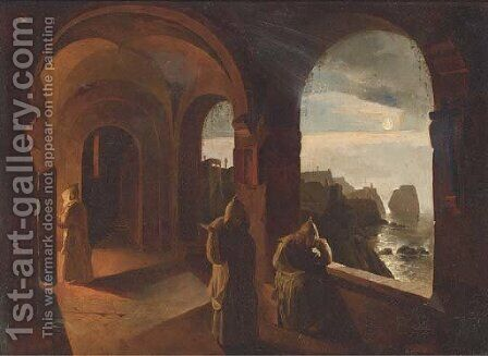 Monks in a Capucine monastery by moonlight by (after) Timoleon Carl Von Neff - Reproduction Oil Painting