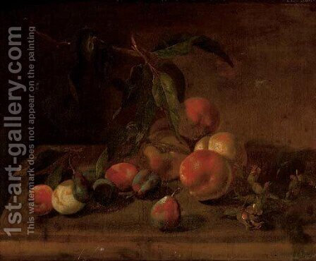 Peaches, plumbs and hazelnuts on a stone ledge by (after) Tobias Stranover - Reproduction Oil Painting