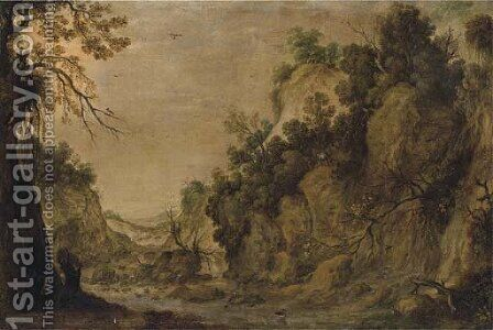 A rocky landscape with a waterfall and two figures by a river by (after)Tobias Van Haecht (see Verhaecht) - Reproduction Oil Painting
