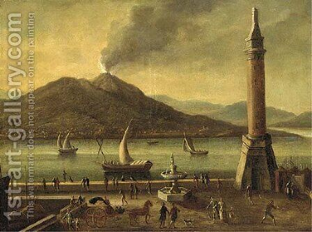A view of Vesuvius, from the Molo, Naples by (after) Tomasso Ruiz - Reproduction Oil Painting