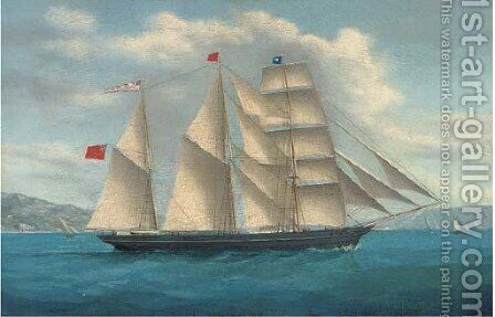 The barquentine Sparkling Foam in the Mediterranean off Naples by (after) De Simone Tommaso - Reproduction Oil Painting