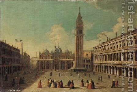 The Piazza San Marco, Venice, looking east along the central line by (after) Vincenzo Chilone - Reproduction Oil Painting