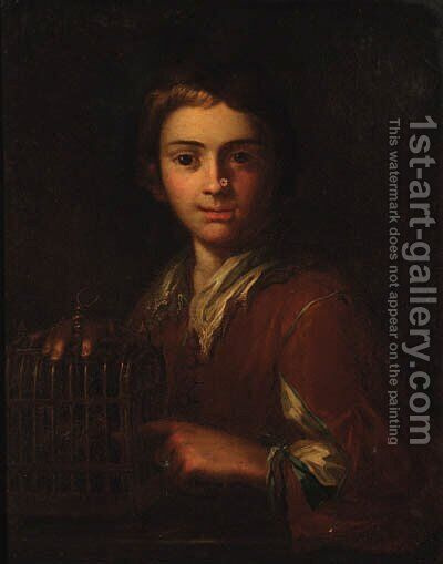 A youth pointing at a birdcage by (after) Vittore Ghislandi - Reproduction Oil Painting