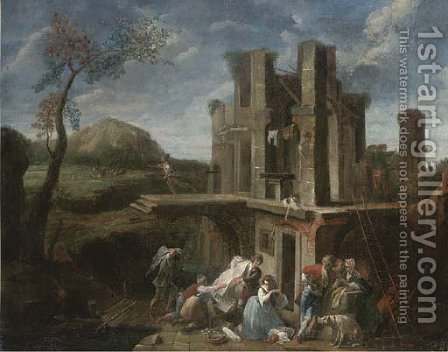 Bandits sacking a fortified house by (after) Vittorio Amadeo Cignaroli - Reproduction Oil Painting