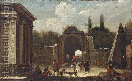 A capriccio of classical ruins with elegant company in the foreground by (after) Viviano Codazzi - Reproduction Oil Painting