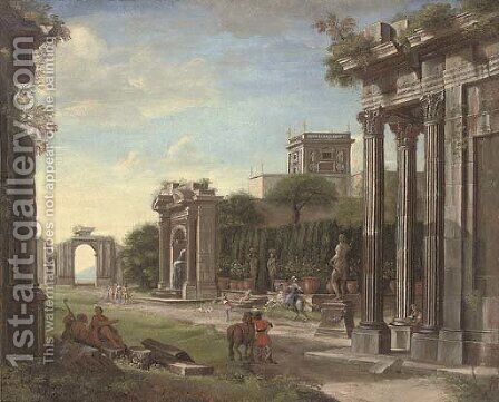 An arhitectural capriccio of classical ruins with elegant company by (after) Viviano Codazzi - Reproduction Oil Painting