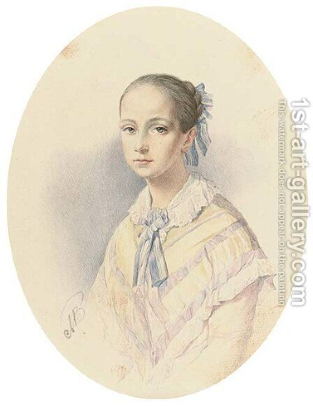 Portrait of a young beauty by (after) Vladimir Ivanovich Hau - Reproduction Oil Painting