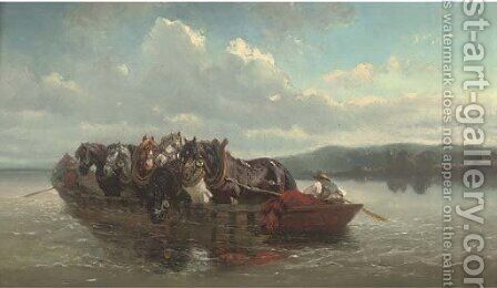The horse ferry by (after) Willem Carel Nakken - Reproduction Oil Painting