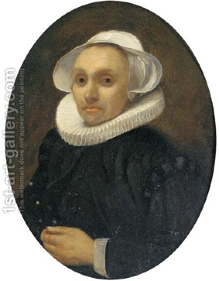 Portrait of a lady, half-length, in a white ruff and cap by (after) Willem Drost - Reproduction Oil Painting