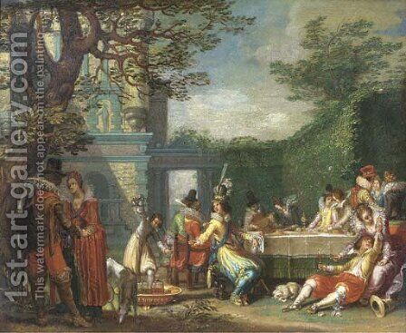 A merry company feasting in an elegant garden by (after) Willem Buytewech - Reproduction Oil Painting