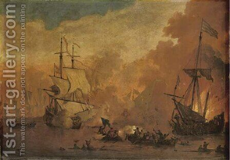 A man-o'-war firing at a sinking ship, smallschips exchanging fire from close range by (after) Willem Van De, The Younger Velde - Reproduction Oil Painting