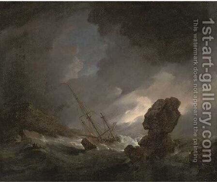 A shipwrecked man'o-war in stormy seas off a rocky coast, survivors in the foreground by (after) Willem Van De, The Younger Velde - Reproduction Oil Painting