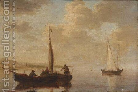 Small craft off the Dutch coast by (after) Willem Van De, The Younger Velde - Reproduction Oil Painting