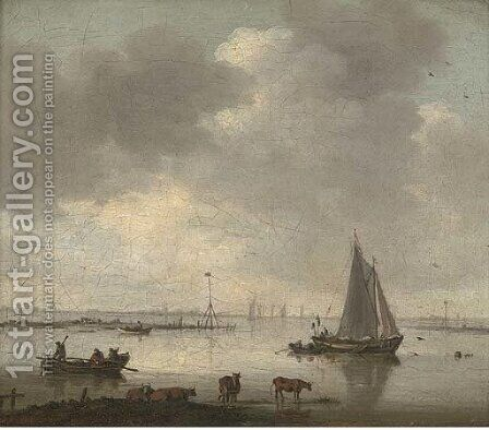 A river landscape with cattle and fishermen by (after) Willem Van Diest - Reproduction Oil Painting