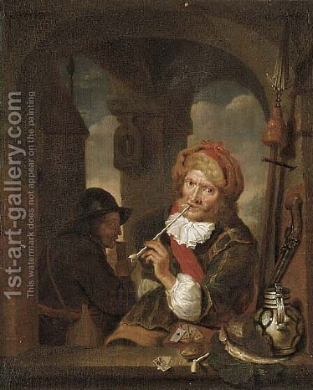 A cavalier smoking and playing cards at a window by (after) Willem Van Mieris - Reproduction Oil Painting