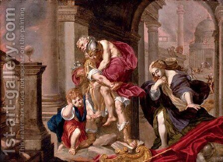 Aeneas carrying his father Anchises from the burning Troy with Ascanius and Creusa by (after) Willem Van Mieris Leiden - Reproduction Oil Painting