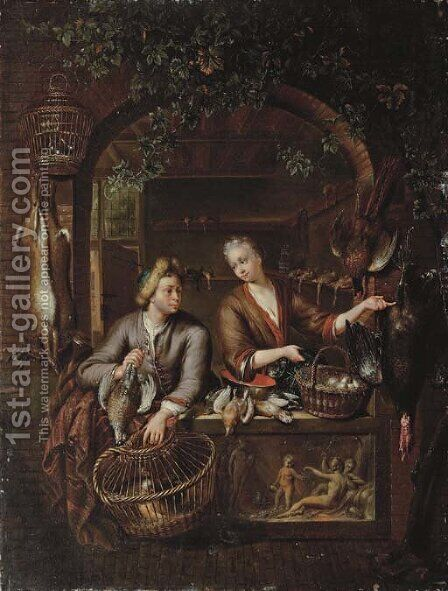 Poultry sellers in a arched window above a carved relief by (after) Willem Van Mieris - Reproduction Oil Painting