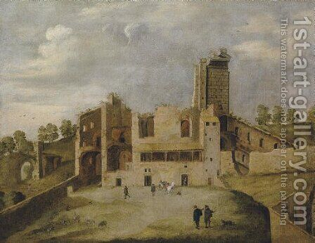 The Temple of Serapis, or so-called Frontispizio di Nerone, Rome by (after) Willem Van, The Younger Nieulandt - Reproduction Oil Painting