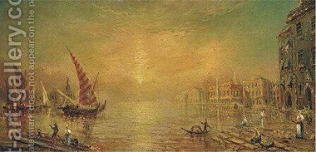 View over the Venetian lagoon by (attr. to) Knell, William Adolphus - Reproduction Oil Painting