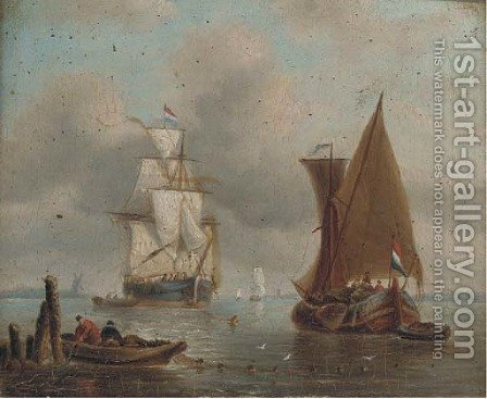 A Dutch merchantman drying her sails in an offshore anchorage by (after) William Anderson - Reproduction Oil Painting