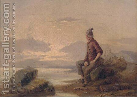 A shrimper sitting on the rocks at dusk by (after) William Collins - Reproduction Oil Painting
