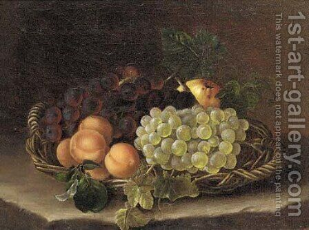 Still life of grapes, peaches and an apple in a wicker basket on a ledge by (after) William Hammer - Reproduction Oil Painting