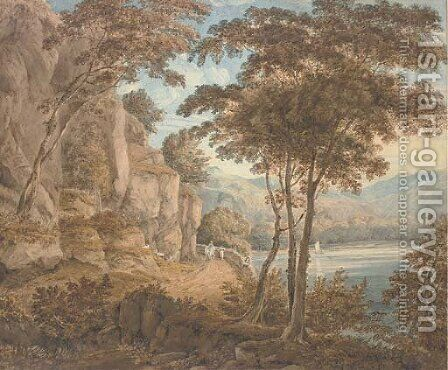 Travellers on a road by a lake, mountains beyond by (after) William Havell - Reproduction Oil Painting