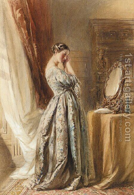 A lady at her toilette by (after) William Henry Hunt - Reproduction Oil Painting