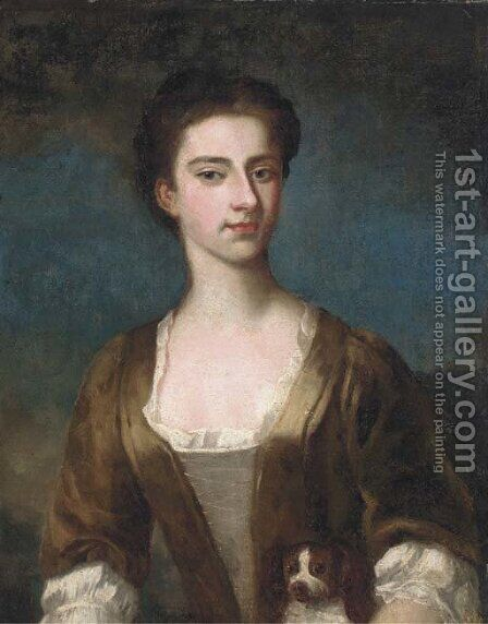 Portrait of Elizabeth Warburton, bust-length, in a brown dress with lace trim by (after) Hoare, William, of Bath - Reproduction Oil Painting