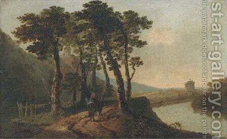 An Italianate landscape with figures by a river by (after) William Hodges - Reproduction Oil Painting