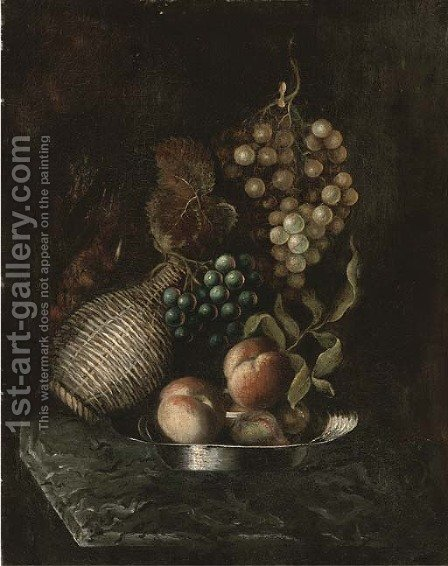 Grapes, a bottle, and peaches on a platter, on a marble ledge by (after) William Jones Of Bath - Reproduction Oil Painting