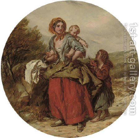 A mother and children on a country road; and Another similar by (after) William Mulready - Reproduction Oil Painting