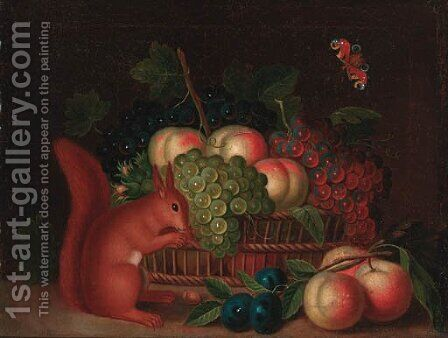 A basket of grapes and peaches, with plums and peaches and a squirrel eating nuts on a ledge by (after) William Sartorius - Reproduction Oil Painting