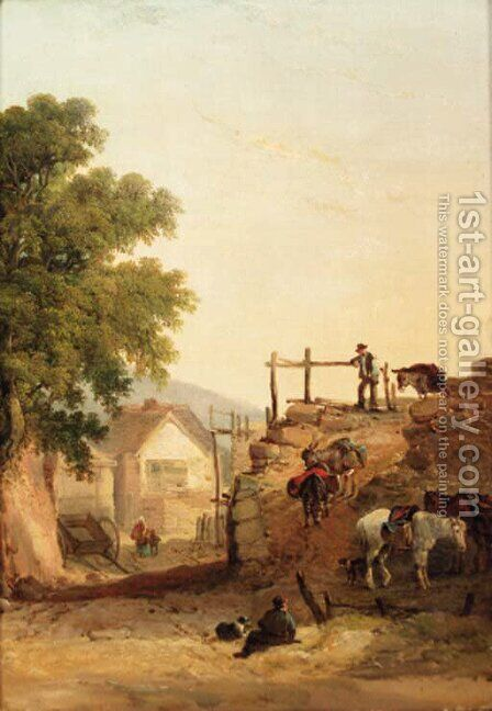 Donkeys descending a rocky path, a cottage beyond by (after) William Joseph Shayer - Reproduction Oil Painting