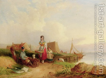 Fisherfolk before a landing stage; and Peasants resting before an extensive coastal landscape by (after) William Joseph Shayer - Reproduction Oil Painting