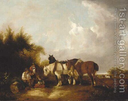The plough team by (after) William Joseph Shayer - Reproduction Oil Painting