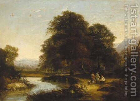 Figures by a river in a wooded landscape by (after) William Traies - Reproduction Oil Painting