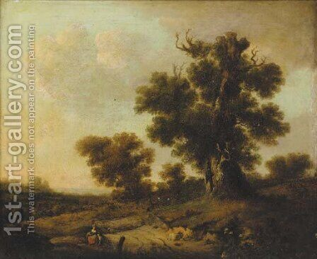 Figures resting under a tree in an extensive landscape by (after) William Traies - Reproduction Oil Painting