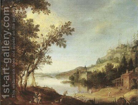 An extensive river landscape with travellers by a road, a castle beyond by Claes Dircksz. Van Der Heck - Reproduction Oil Painting