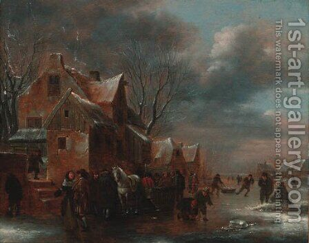 Travellers and villagers on a frozen river by a cottage by Claes Molenaar (see Molenaer) - Reproduction Oil Painting
