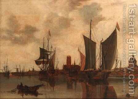 A view of Rotterdam with moored sailing vessels in the harbour, the Laurenskerk, Oude Hoofdpoort and Kruithuis beyond by Claesz Jansz Van Der Willigen - Reproduction Oil Painting