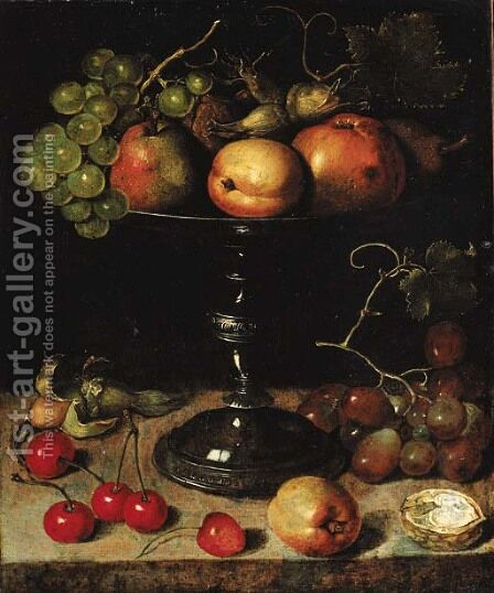 Pears, an apple, an apricot, grapes, almonds and wallnuts on a tazza with grapes, a wallnut, an abricot, cherries and almonds on a stone ledge by Clara Peeters - Reproduction Oil Painting
