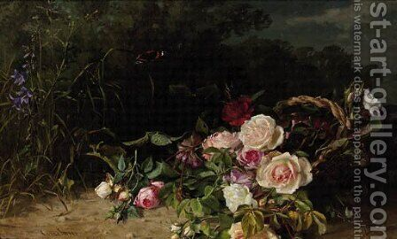 A forest landscape with roses in a wicker basket by Clara Von Sivers - Reproduction Oil Painting