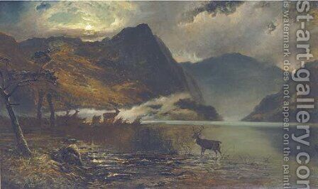 Stags watering by a moonlit loch by Clarence Roe - Reproduction Oil Painting