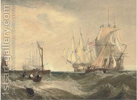 H.M. Ships Nemesis and Arrow bringing the Danish frigate Freja and her convoy into the Downs in July 1800 by Clarkson Stanfield - Reproduction Oil Painting