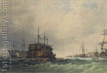 Hulks lying in the Medway by Clarkson Stanfield - Reproduction Oil Painting