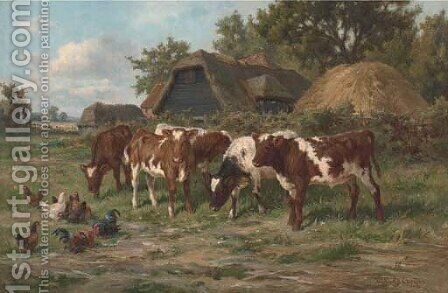 Calves and poultry by a farm by Claude Cardon - Reproduction Oil Painting