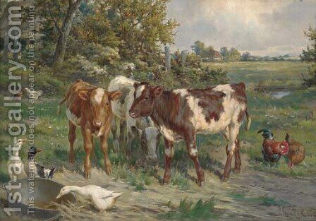 Feeding time by Claude Cardon - Reproduction Oil Painting