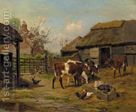 In the farmyard by Claude Cardon - Reproduction Oil Painting